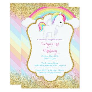 Convite de aniversário do unicórnio - arco-íris