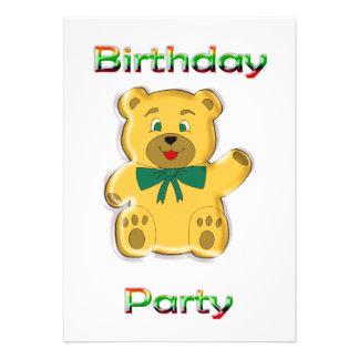 Convite de aniversário do urso de ursinho