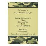 Convite de aniversário do verde do exército de Cam