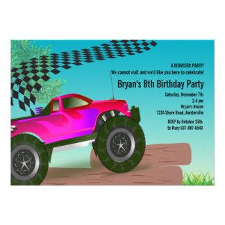 Convite de aniversário do vermelho do monster truc