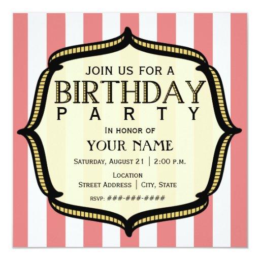 Convite de aniversário do vintage