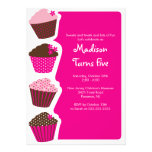 Convite de aniversário doce do cupcake