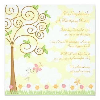 Convite de aniversário doce do jardim da borboleta