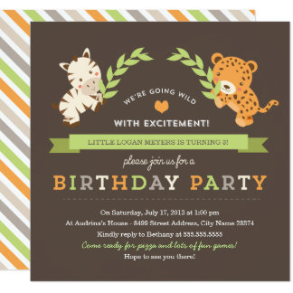 Convite de aniversário doce do safari