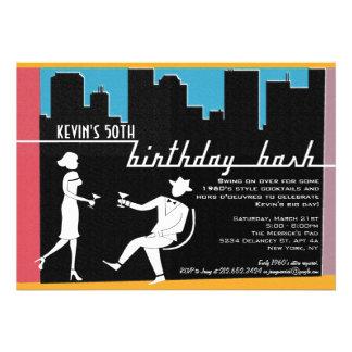 Convite de aniversário dos anos 60 do hipster