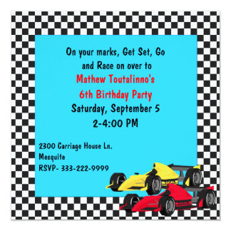 Convite de aniversário dos carros de corridas do
