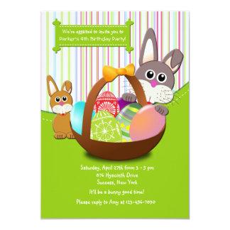 Convite de aniversário dos coelhinhos da Páscoa