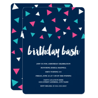 Convite de aniversário dos confetes do triângulo