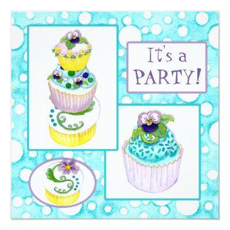 Convite de aniversário dos cupcakes do amor convite quadrado 13.35 x 13.35cm