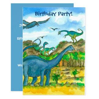 Convite de aniversário dos dinossauros