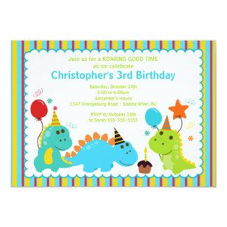 Convite de aniversário dos dinossauros do