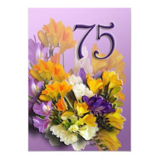Convite de aniversário dos Freesias 75th