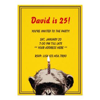 Convite de aniversário engraçado do chimpanzé da