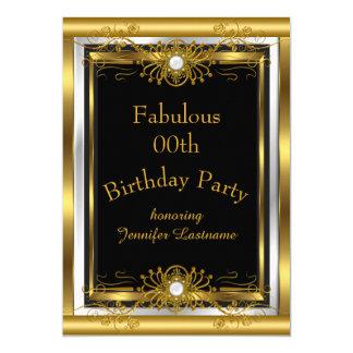 Cartão Convite de aniversário fabuloso do preto do ouro