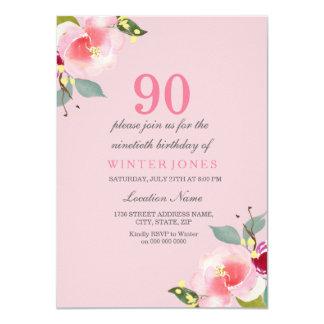 Convite de aniversário floral cor-de-rosa bonito