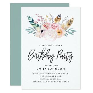Convite de aniversário floral de Boho |
