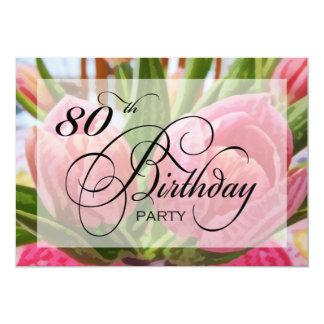 Convite de aniversário floral do 80 da tulipa