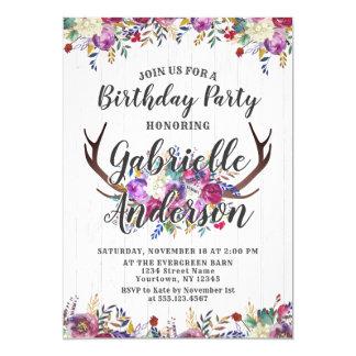 Convite de aniversário floral do chique do Antler