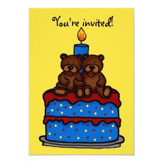 Convite de aniversário gêmeo dos meninos