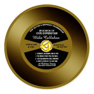 Convite de aniversário gravado ouro do vinil 45