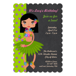 Convite de aniversário havaiano da menina de Luau