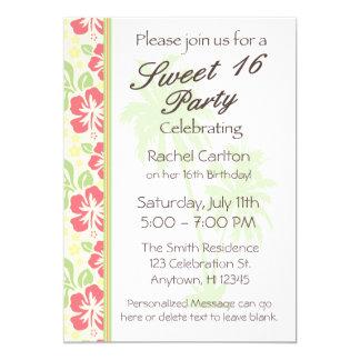 Convite de aniversário havaiano do doce 16 de Luau