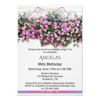 Convite de aniversário inglês floral elegante