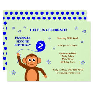 Convite de aniversário insolente do macaco segundo