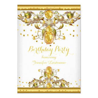Cartão Convite de aniversário Jewelled branco 2 do ouro