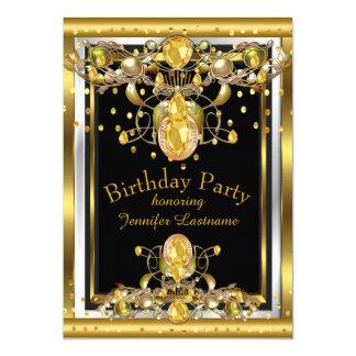 Cartão Convite de aniversário Jewelled preto do ouro