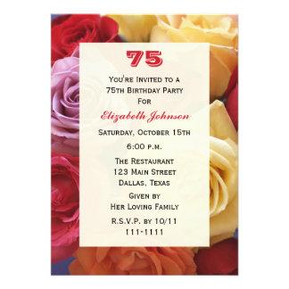 Convite de aniversário lindo dos rosas 75th