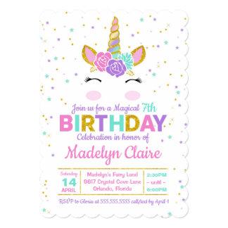 Convite de aniversário mágico do unicórnio
