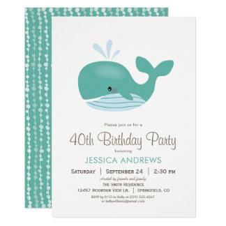Convite de aniversário náutico da baleia