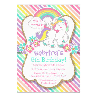 Convite de aniversário Pastel do unicórnio do