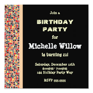 Convite de aniversário preto do mosaico