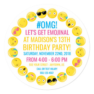 Convite de aniversário redondo de Emoji