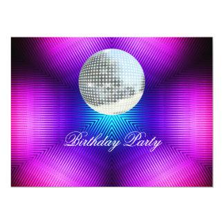 Convite de aniversário retro do disco