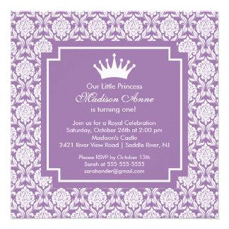 Convite de aniversário roxo da princesa Coroa