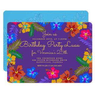 Convite de aniversário roxo de Luau