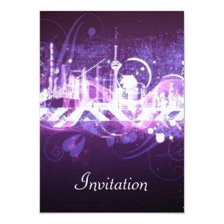 Convite de aniversário roxo PurpleCity Convite 12.7 X 17.78cm