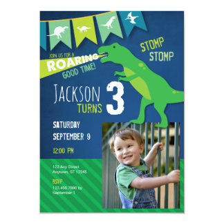 Convite de aniversário rujir do dinossauro de REX