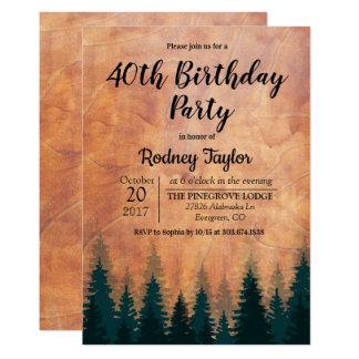 Convite de aniversário rústico
