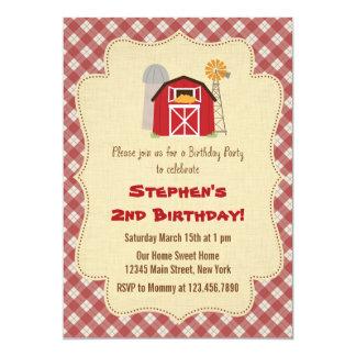 Convite de aniversário rústico da fazenda