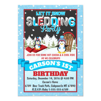 Convite de aniversário Sledding do pinguim