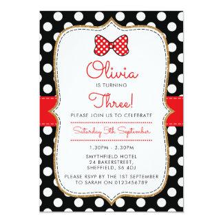 Convite de aniversário temático de Polkadot Minnie