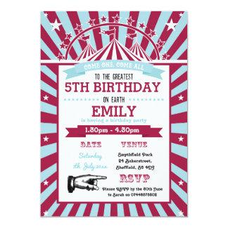 Convite de aniversário temático do circo