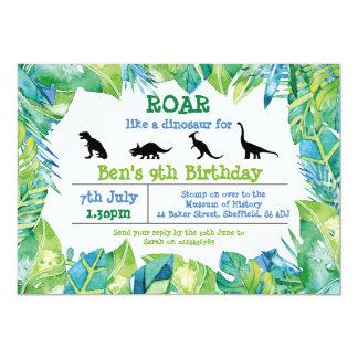 Convite de aniversário temático do dinossauro