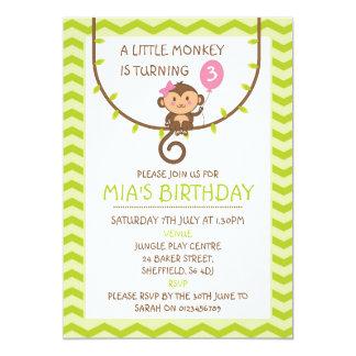 Convite de aniversário temático do macaco
