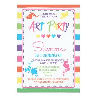 Convite de aniversário temático do partido da arte
