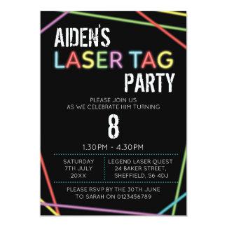 Convite de aniversário temático do Tag do laser
